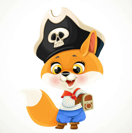 Cute cartoon baby fox dressed in pirate costume with a treasure chest isolated on a white background