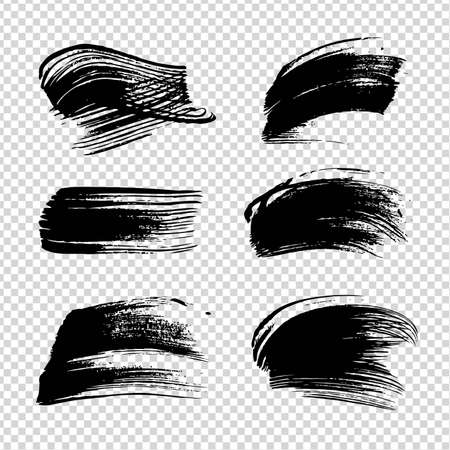 Black ink abstract textured strokes on imitation transparent background