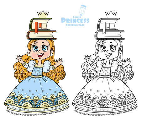 Cute princess in blue dress trains posture with books on the head outlined and color for coloring book