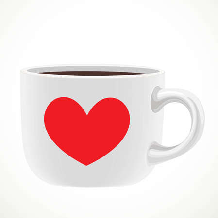 Large white ceramic cup with red heart draw of tea or coffee isolated on a white background 向量圖像
