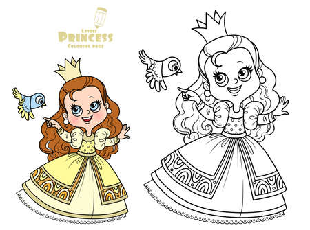 Cute princess in yellow dress with small bird outlined and color for coloring book