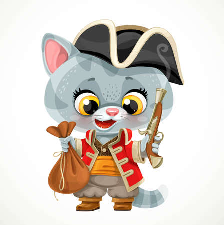 Cute cartoon baby cat dressed in pirate costume with a big purse and a gun in hand isolated on white background