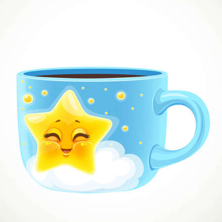 Large blue ceramic cup with cute cartoon baby star draw isolated on a white background