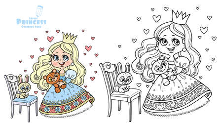 Cute princess in blue dress holding teddy bear and with plush bunny on a chair outlined and color for coloring book