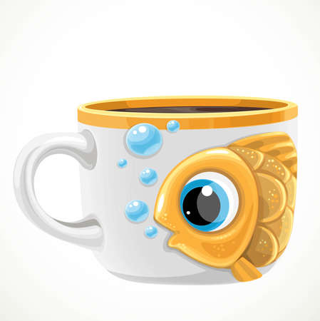 Large white ceramic cup with cute cartoon golden fish draw isolated on a white background 向量圖像