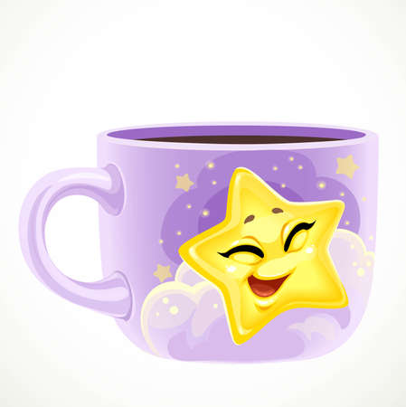 Large purple ceramic cup with cute cartoon baby star draw isolated on a white background 向量圖像