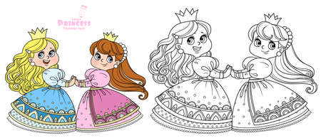 Two cute princesses dancing holding hands outlined and color for coloring book