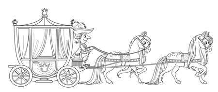 Carriage pulled by horses with the coachman outlined for coloring book Ilustración de vector
