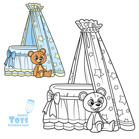 Baby canopy toy bed and teddy bear outlined and color for coloring book Illusztráció