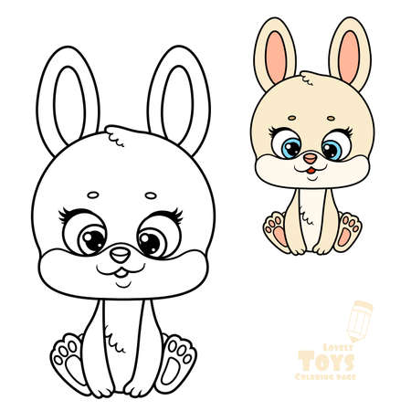 Cute cartoon toy beige soft rabbit sit on white background outlined and color for coloring book