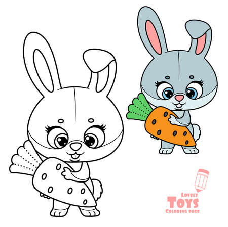 Cute cartoon toy soft rabbit with carrot in hands outlined and color for coloring book