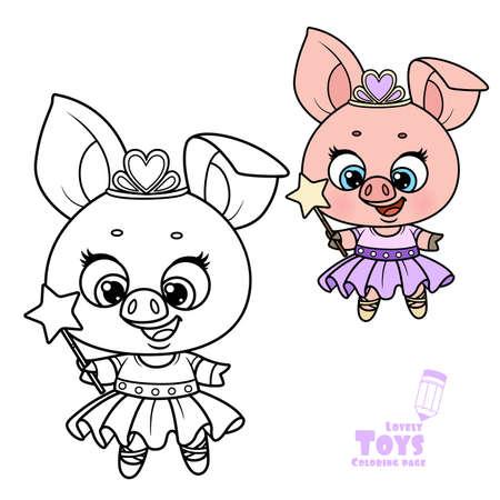 Cute cartoon soft toy princess pig outlined and color for coloring book Illusztráció