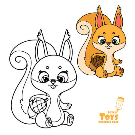 Cute cartoon soft toy squirrel sits and holds an acorn under his armpit outlined and color for coloring book
