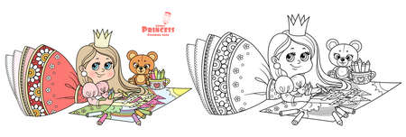 Cute cartoon princess draws with colored pencils lying on the floor outlined and color for coloring book