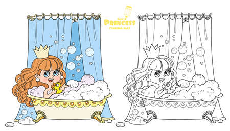 Cute brunette princess taking bath with a duck outlined and color for coloring book Иллюстрация