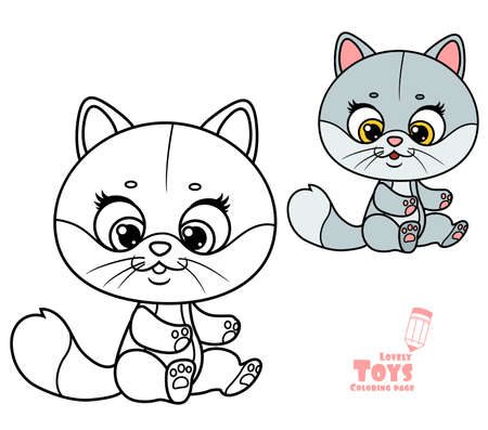 Cute cartoon soft toy gray cat outlined and color for coloring book sit on white background