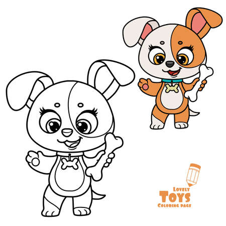 Cute cartoon soft toy puppy with bone outlined and color for coloring book