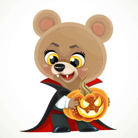Cute cartoon teddy bear vampire in a cloak with a jack lantern in hands isolated on white background
