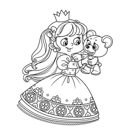 Cute blond princess playing with teddy bear outlined for coloring book