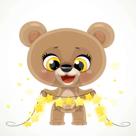 Cute cartoon baby bear with a garland of shining stars in hands isolated on white background