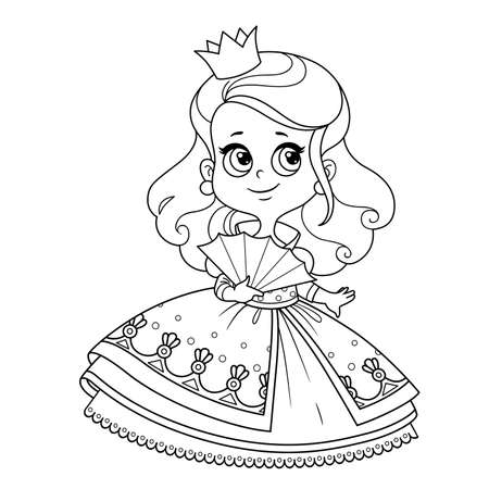 Cute curly haired princess in ball dress with fan outlined for coloring book Vectores