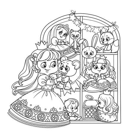 Cute blond princess playing with teddy bear near a wardrobe with toys outlined for coloring book