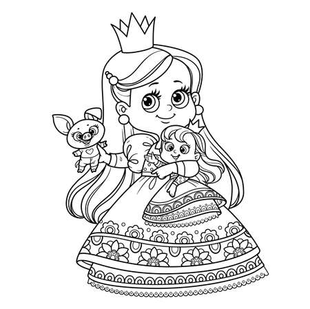 Cute blond princess with doll and soft toy pig outlined for coloring book