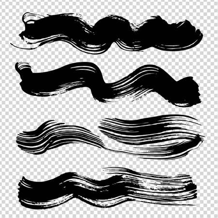 Black wavy abstract figured strokes on imitation transparent background Vectores