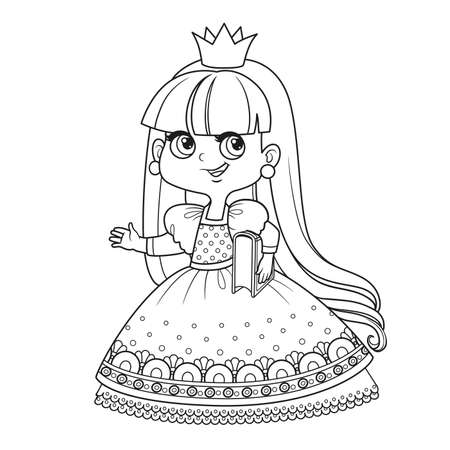 Cute princess in lush dress hold a book under her arm outlined for coloring book