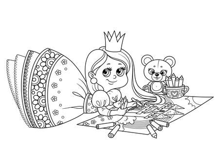 Cute cartoon princess draws with colored pencils lying on the floor outlined  for coloring book Vectores