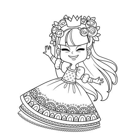 Cute princess in a wreath of roses dancing outlined  for coloring book Vectores