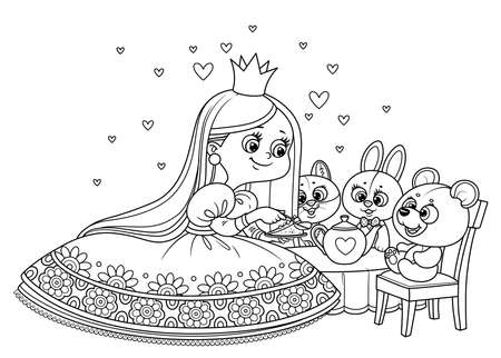 Cute princess in lush dress feeding the teddy bear cake outlined for coloring book