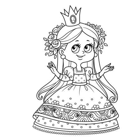 Cute princess in ball dress with roses wreath outlined for coloring book Vectores