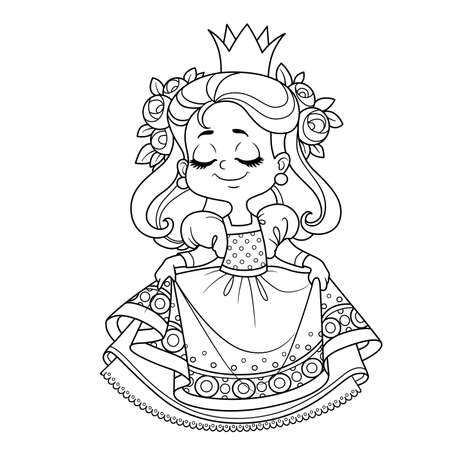 Cute princess in lush dress curtsy outlined for coloring book Vectores
