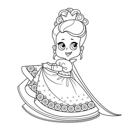 Cute princess in ball dress with puffy skirts and high hair outlined for coloring book