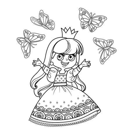 Cute princess in ball dress surrounded by butterflies outlined  for coloring book