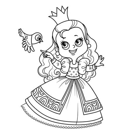 Cute princess in ball dress with small bird outlined for coloring book