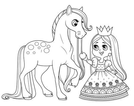 Cute cartoon princess feed a horse an apple outlined for coloring book Vectores