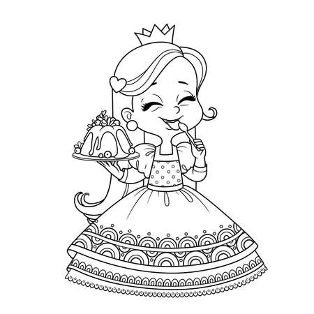 Cute princess holds a cupcake in hand and licks spoon outlined  for coloring book