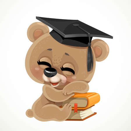 Cute cartoon baby bear wearing graduate hat sleeps on a stack of books isolated on white background Vectores