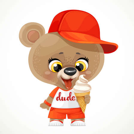 Cute cartoon teddy bear in a cap eating ice cream isolated on white background