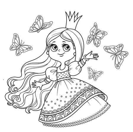 Cute princess in ball dress surrounded by fluttering butterflies outlined for coloring book