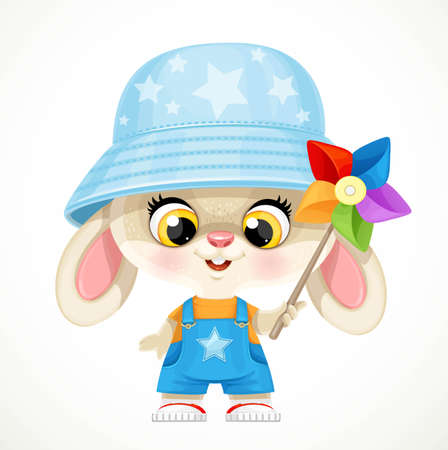 Cute little bunny boy rabbit in panama hat plays with a multi-colored turntable isolated on white background