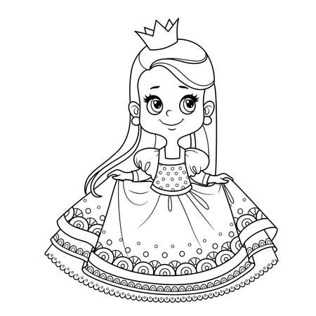 Cute princess in lush dress outlined for coloring book