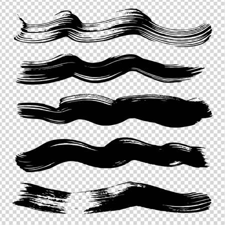 Black ink abstract wavy figured strokes on imitation transparent background Vectores