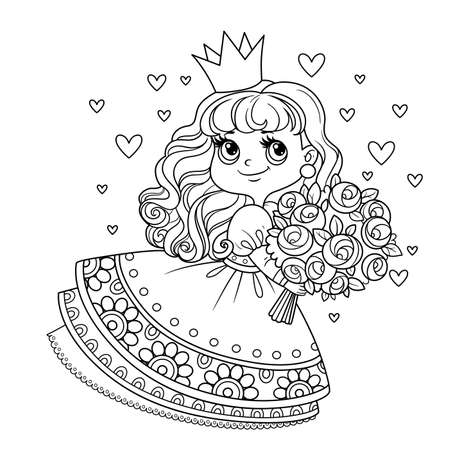 Cute princess in lush dress holding a large bouquet of roses outlined for coloring book Vectores