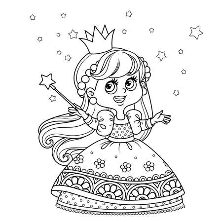 Cute princess with a magic wand outlined for coloring book Vectores