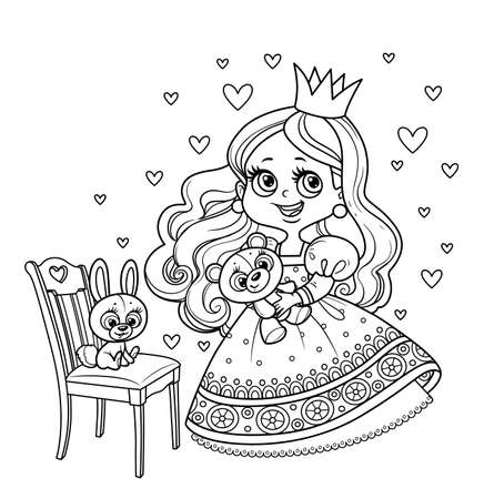 Cute princess in lush dress holding teddy bear and with plush bunny on a chair outlined for coloring book