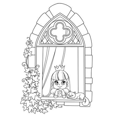 Cute princess looks out of a castle window covered with ivy outlined for coloring book Vectores