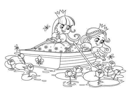 Two cute princesses are floating in a boat and tearing yellow water lilies outlined for coloring book Vectores